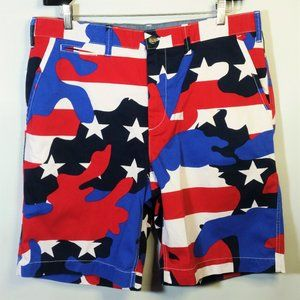 NWT American Flag Camouflage Shorts Red White Blue
